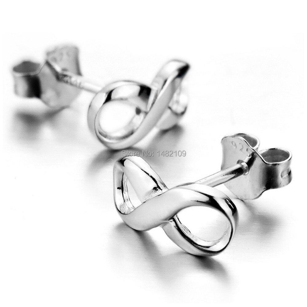 Women 100 Real 925 Sterling Details Silver Studs Earrings