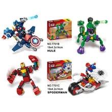 цена на 4pcs/lot Legoingly Super Hero Avengers Captain America Hulk Iron Man Spiderman Building Blocks Black Panther Toys For Children