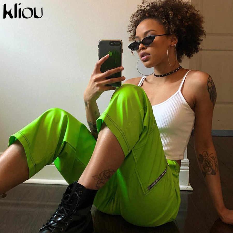 Kliou/2019 новые весенние зеленые женские штаны карго с высокой талией, на молнии, для тренировок, для улицы, флуоресцентные зеленые штаны, брюки с карманами