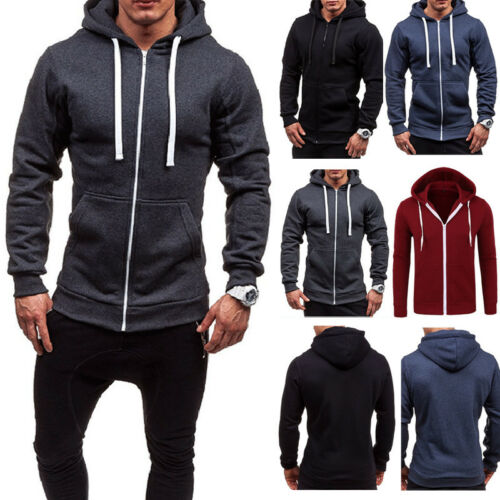 New Thick Hooded Tee Slim Zip Mens Long Sleeve Muscle Warm Zip-Up Hoodie Slim Fit Sweatshirt Gym