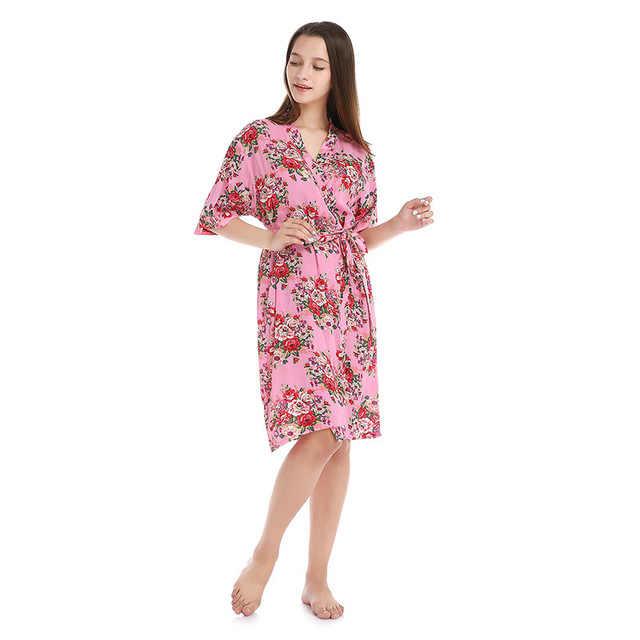 พิมพ์ผ้าฝ้าย Robe ชุดนอนสตรีเซ็กซี่เสื้อคลุมอาบน้ำ Dressing Gowns สำหรับผู้หญิงเจ้าสาวแต่งงาน Bridesmaid Robes ชุดนอนเซ็กซี่