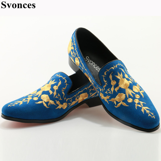 b8f0e380f27a Svonces Mens Shoes Casual 2017 Blue Suede Leather Fashion Men Loafers  Embroidered Moccasins Slip On Men s Flats Male Boat Shoes