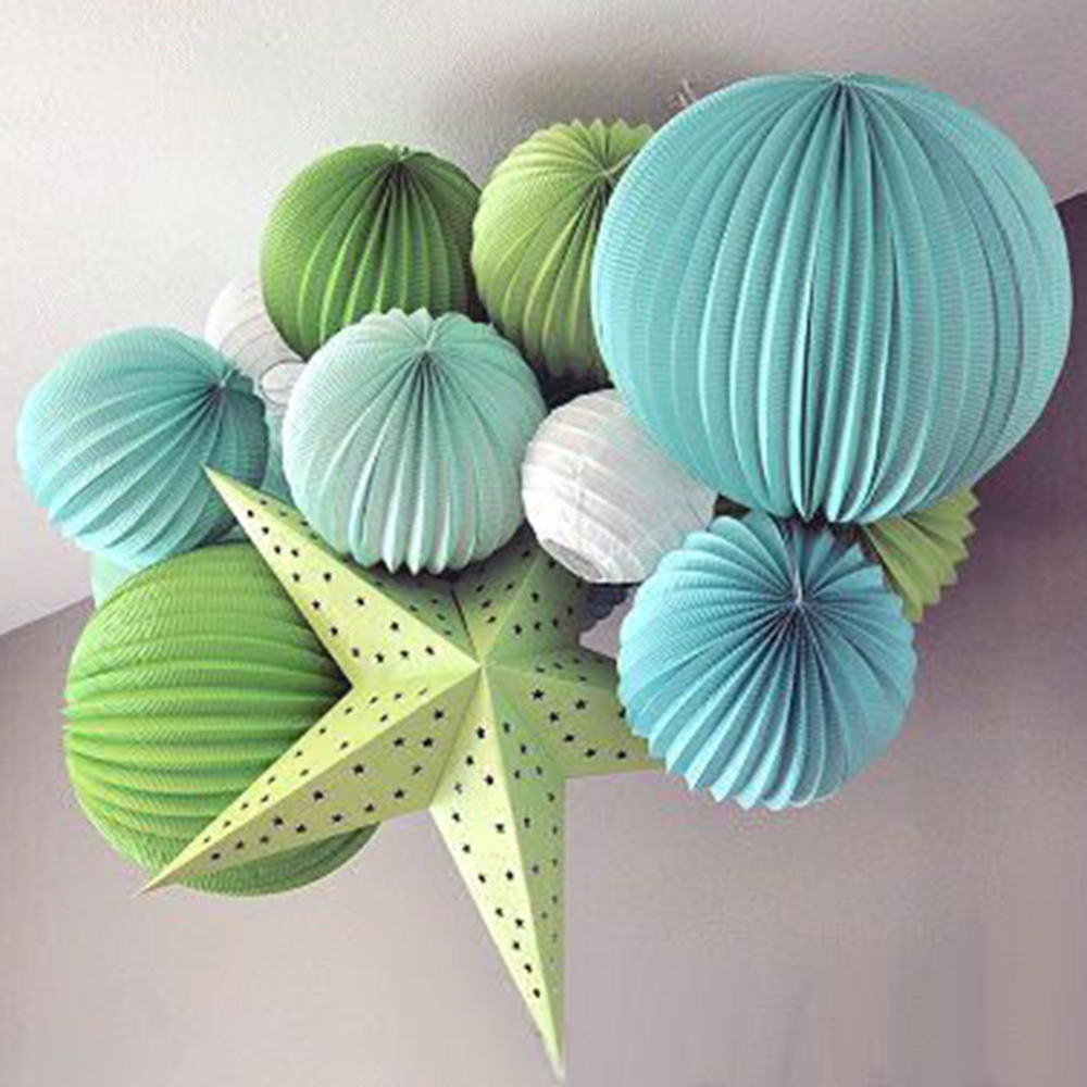 19cm Accordion Pleated Paper Lanterns Watermelon R...