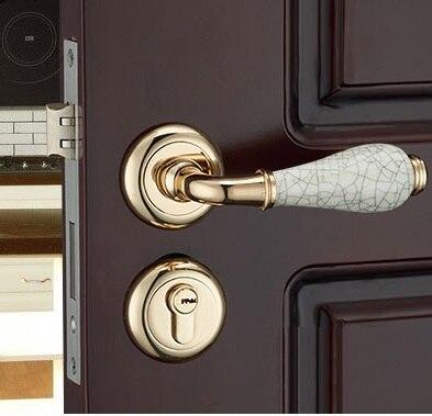 Premintehdw Rosette Bloqueio Mortise Porta Interior Conjunto de Reversão 35-50mm espessura da porta Com Alça De Cerâmica
