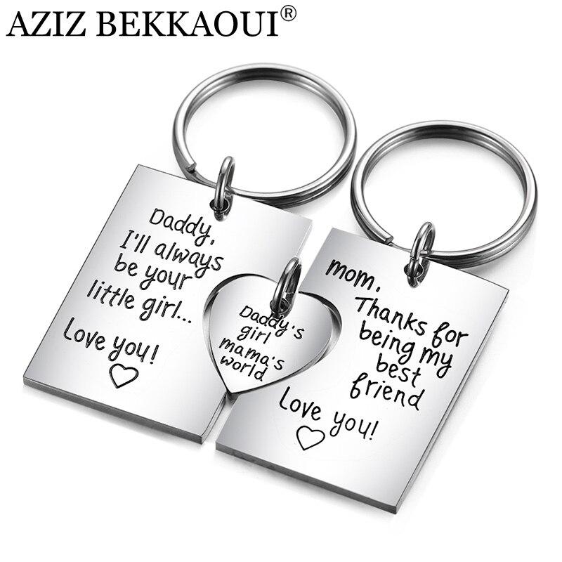 AZIZ BEKKAOUI familia única regalo DIY grabado Logo COLLAR COLGANTE de acero inoxidable amor llavero regalo para los padres hija