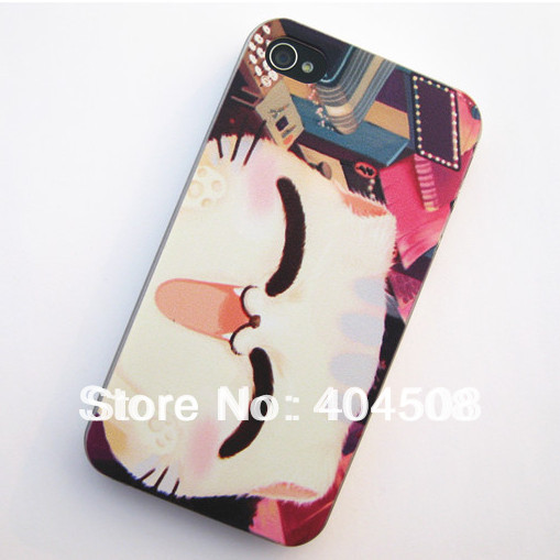 coloured drawing cell phone case for iphone 5 5s mobile phone case smile cat cut animal hard back cover shell skin phone case