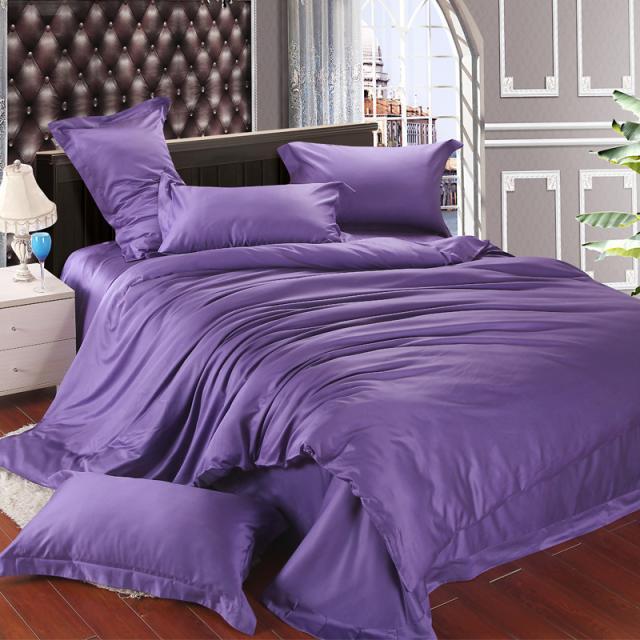 Luxury Violet Duvet Cover Bedding Set Purple Silk Full