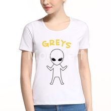 New Fashion Kawaii Alien Print Funny Womens T-Shirts Summer Haraiuku Top Tees Hipster Short Sleeve O Neck Tops L10-J-3