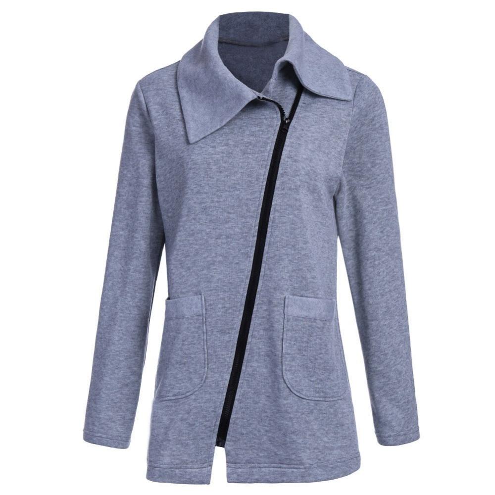 Giraffita Winter Jacket Coat Women Inclined Zipper Long Jacket Ladies Lapels Solid Color Long Sleeve Slim