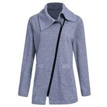 Giraffita Winter Jacket Coat Women Inclined Zipper Long Jacket  Ladies Lapels Solid Color Long Sleeve Slim Fit Outerwear