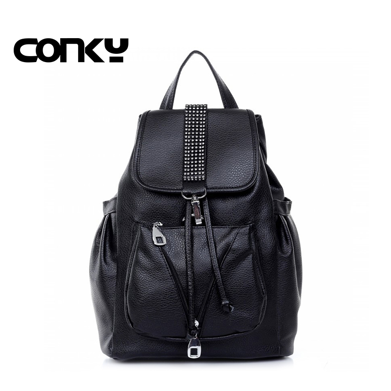 2016 Spring New fashion backpack women black school bags for teenage girls black pack shoulder bags