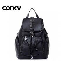 Весення новинка 2016 года мода рюкзак женские черные школьные сумки для девочек-подростков черный пакет сумки на плечо дамы Bolsa feminina