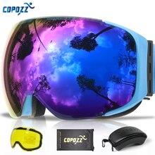 COPOZZ 마그네틱 스키 고글 2s 빠른 변경 렌즈 및 케이스 세트 UV400 보호 안티 안개 스노우 보드 스키 안경 남성 여성을위한