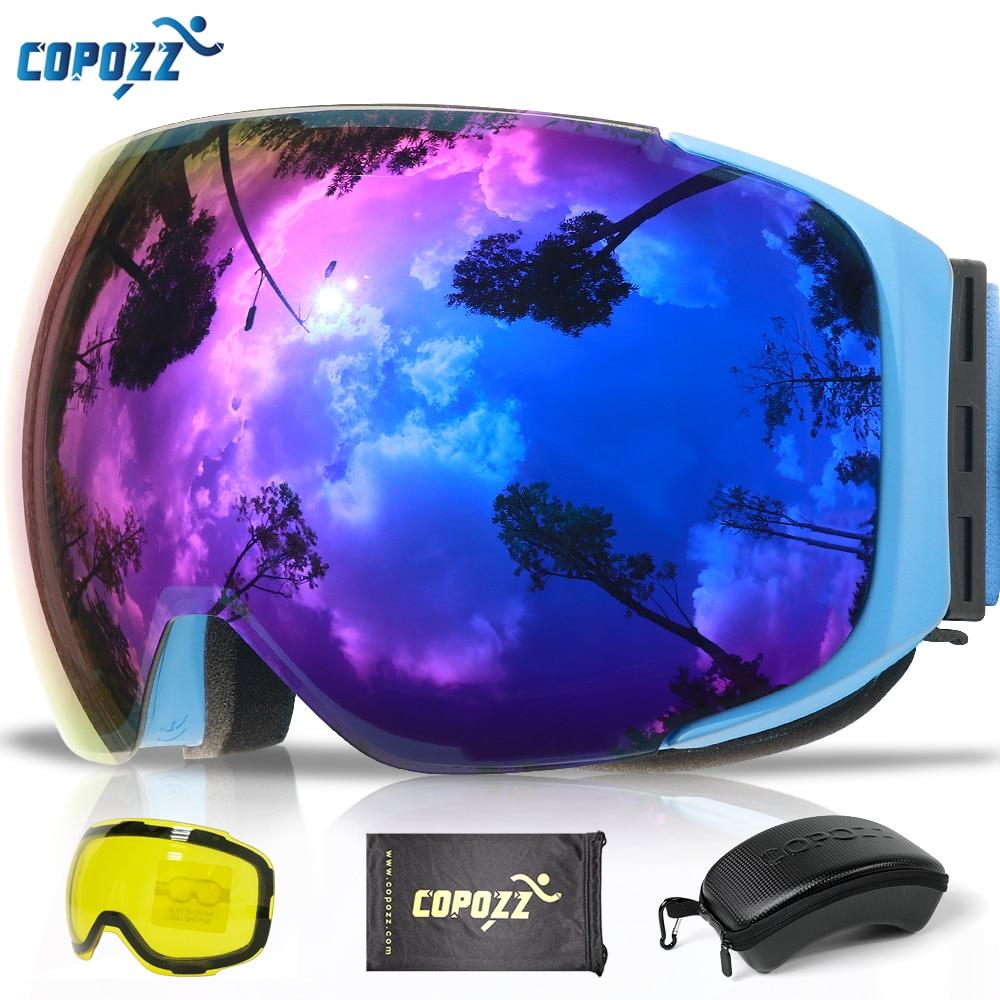 COPOZZ Magnética Óculos De Esqui com 2 s Quick-change Lens e Caso Set UV400 Proteção Anti-nevoeiro óculos de Snowboard óculos de esqui para Mulheres Dos Homens