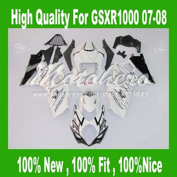 100%NEW black white Fairing For GSXR 1000 K7 07 08 SUZUKI GSX R1000 GSX-R1000 07 08 #yt66h GSXR1000 2007 2008 fairing kits