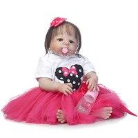 23inch Full silicone reborn baby dolls Toy Baby Reborn lifelike lol original vinyl newborn bathe princess toddler Brinquedos toy