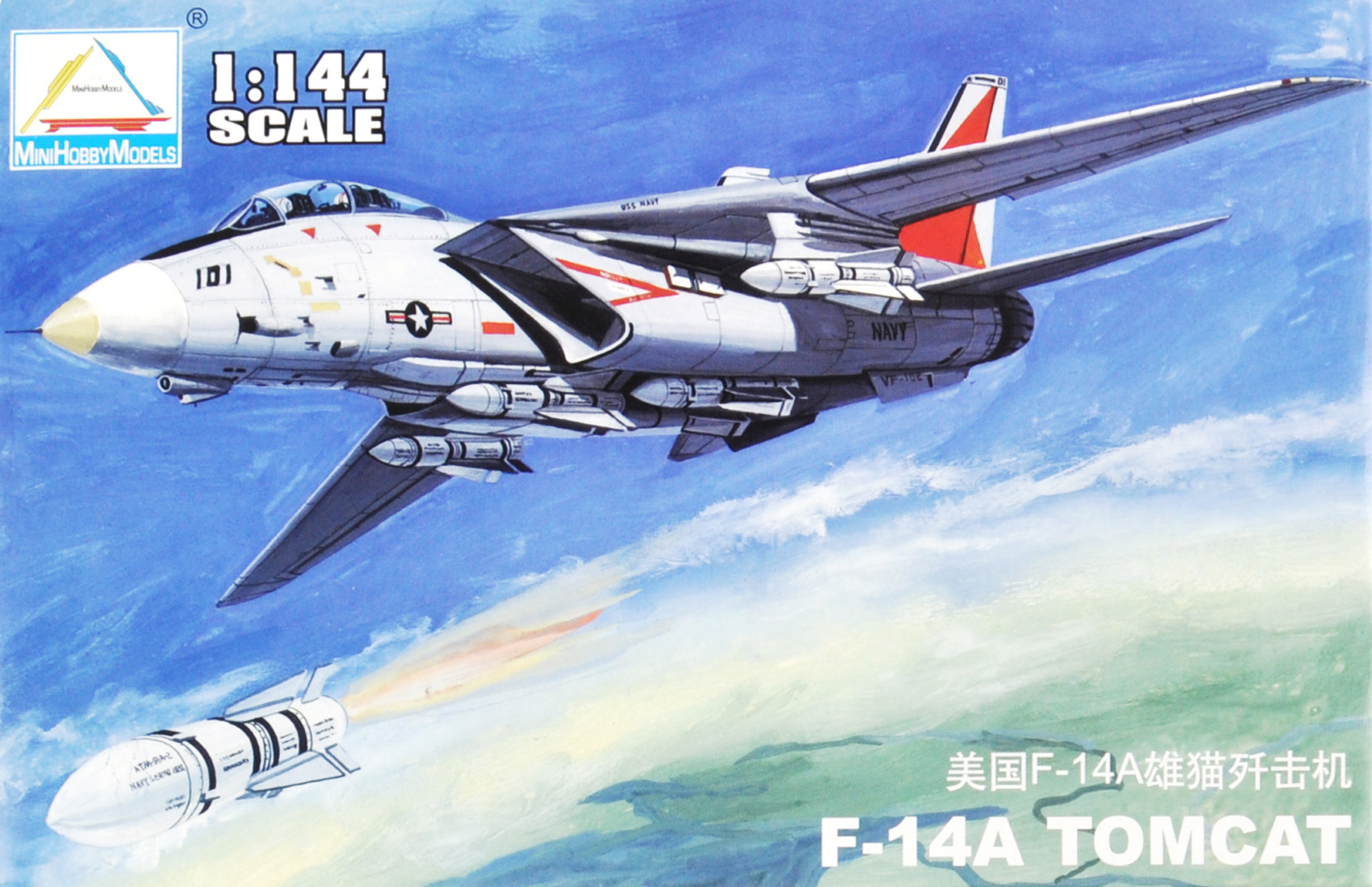 1: 144 USA F-14A TOMCAT Fighter America Military Assembly Aircraft Model 80408