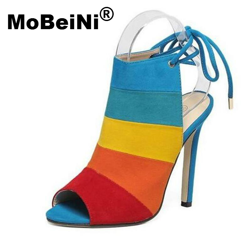 MoBeiNi New Style Summer Women Roman Europe Big Designer Style Pumps Spell Color Fish Mouth Flock Suede Thin High Heels Woman