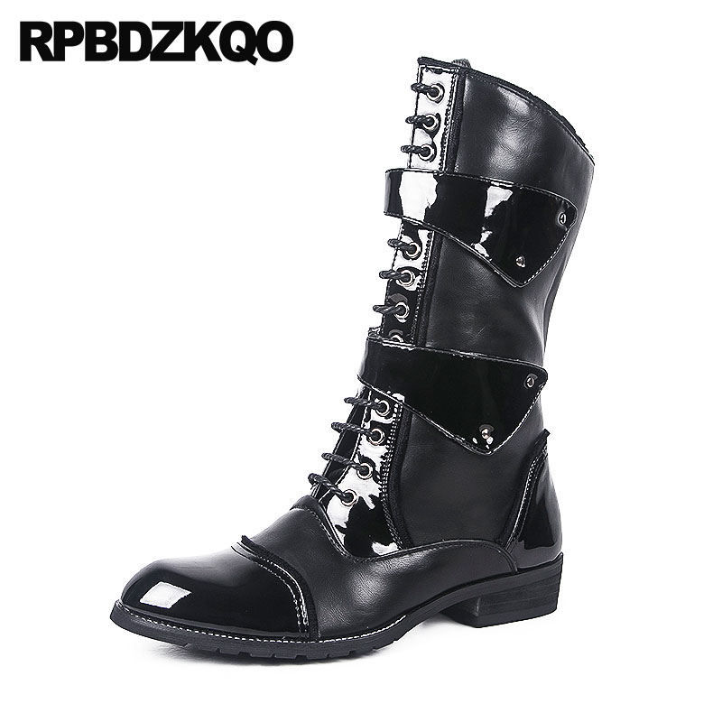 Winter Lace Up Black Runway Waterproof Zipper Faux Fur Luxury Men Vintage Motorcycle Boots Big Size Mid Calf Plus Shoes Warm недорго, оригинальная цена