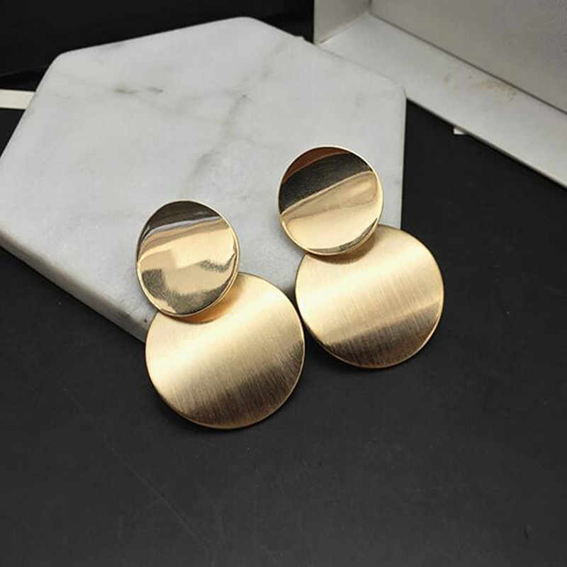 New Gold Silver Color Statement Geometric Circle Metal Pendientes Earrings for Women Fashion Drop Earring Brincos