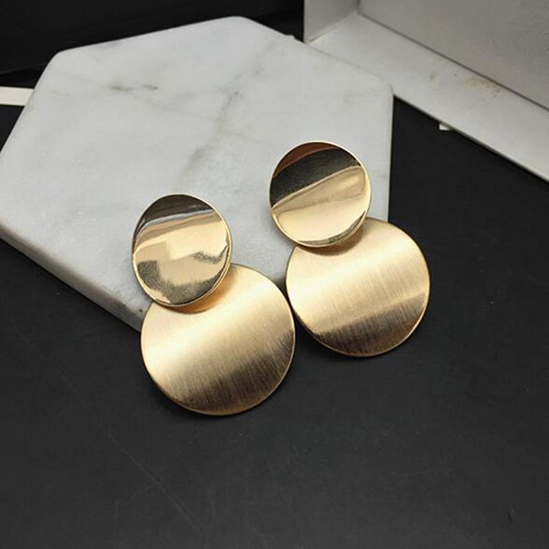 New 2018 Gold Silver Color Statement Geometric Circle Metal Pendientes Earrings for Women Fashion Drop Earring Brincos