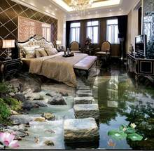 3d wallpaper 3d flooring Stone pier lotus flower photo wallpaper 3d floor tiles self adhesive wallpapers for living room(China)
