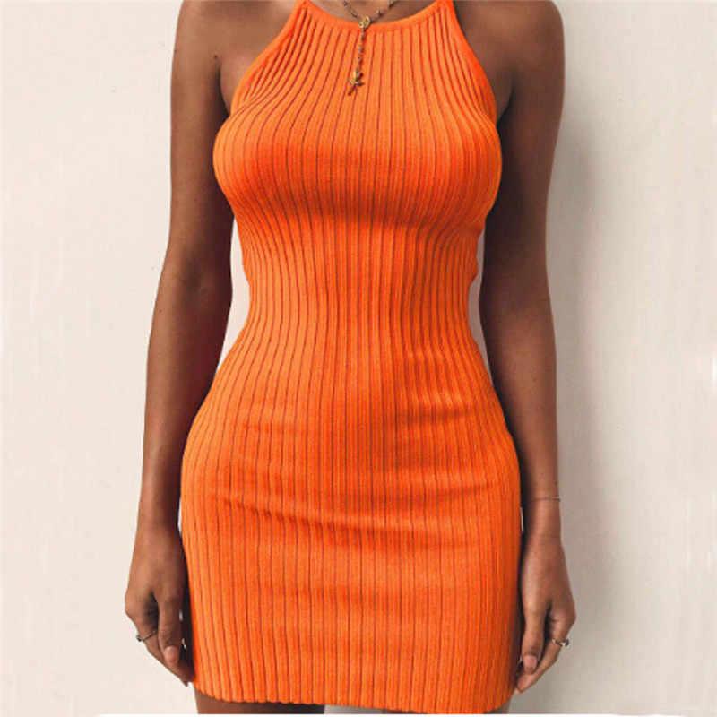 166de12f8d4 Летнее платье Стильное женское платье сексуальное облегающее однотонное  сексуальное мини-платье для вечеринок полиэстер Оранжевый