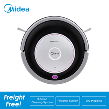 Midea MR02 Robot Vacuum Cleaner with 1000PA Suction,Vacuuming and Mopping 2in1,Remote Control,4 Cleaning Modes,G-SLAM Navigation 2017 wet and dry mopping robot vacuum cleaner for home with water tank 500ml dustbin 1000pa suction power auto charge vacuum