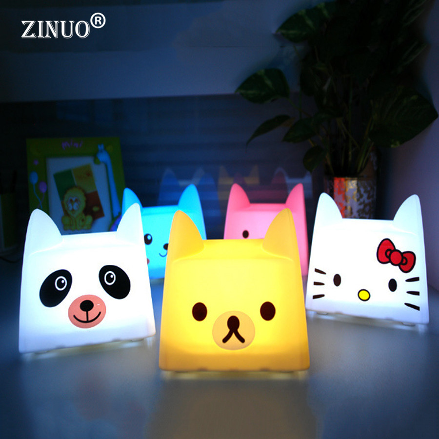 ZINUO Cartoon Night Light Rechargeable Cat Pat Lamp DC5V Dog/Bear/Pig/Hello Kitty LED Nightlight Nolvelty Gift/Toy For ChildrenE