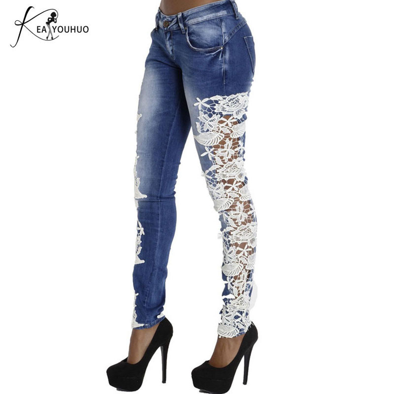 White Lace Spliced Hole Ripped   Jeans   For Women 2018 Fashion Trousers Sides   Jeans   Woman Low Waist Blue Female   Jeans   Sexy Pants