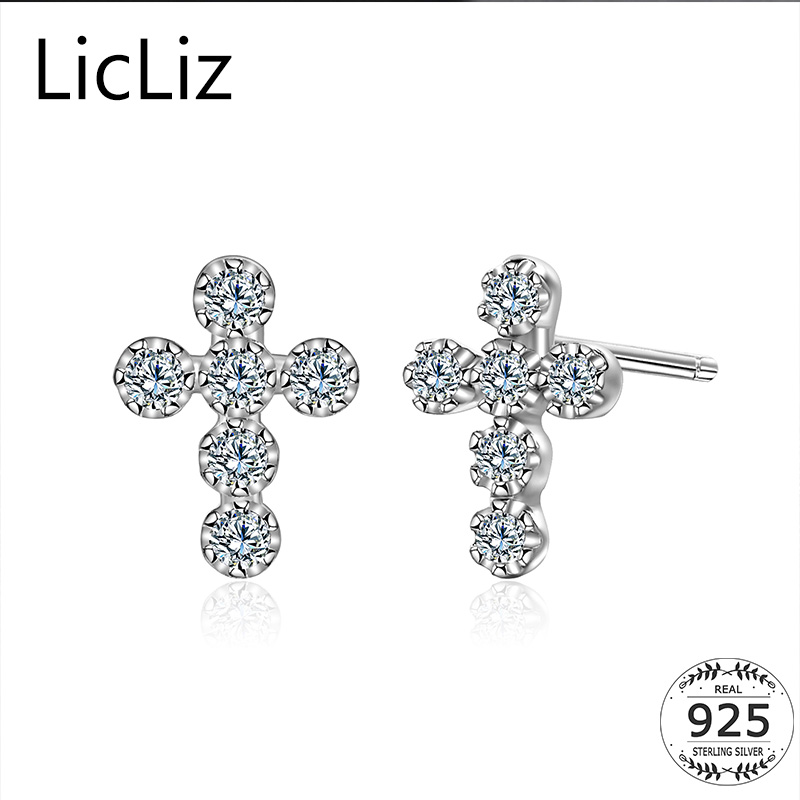 26c6d0cef LicLiz Small Geometric Cross Stud Earrings 925 Sterling Silver Studs Earring  Posts Pierced Charm Cubic Zirconia