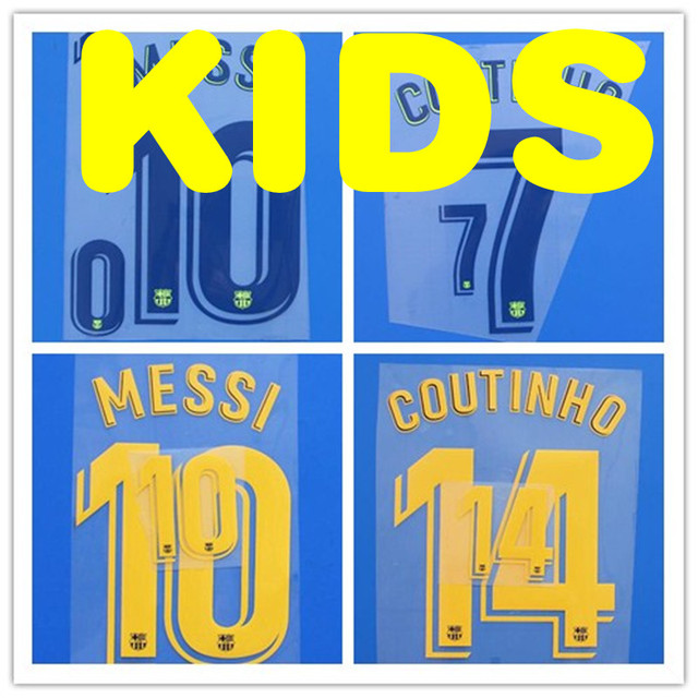 2d6cc7c90d6 KIDS NEW MESSI COUTINHO NAME number font print Hot stamping patches badges