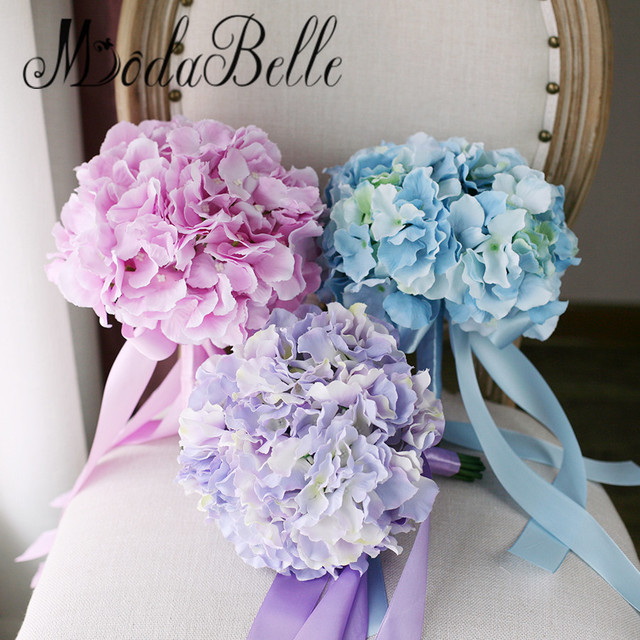 Modabelle Pink Purple Wedding Bouquets Hydrangea Blue Bridal Flowers Bouquet Artificial Bridesmaid In Stock
