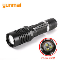 Strong Zoom Tactical Led Flashlight Adjustable 3 Cree XML T6 10000 Lumen Rechargeable Flash Torch Lamp