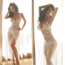2017 New grade sexy lingerie Hot perspective Chiffon nightdress temptation big white pajamas Dress Suit Erotic New Design hot