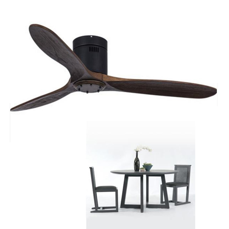 WholesaleEuropean Modern Wooden Ceiling Fan With Remote Control Living Room Bedroom Dining Room Attic Without Light Fan 220 Volt