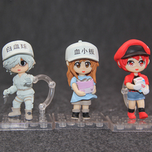 3pcs Mini Cells At Work! Anime Action Figure Platelet Red & White Blood Cell Q Ver Model Cartoon Decoration Toy 10cm