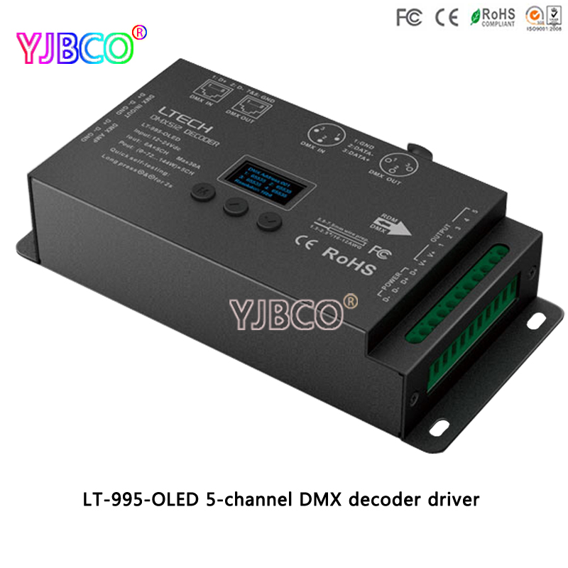 LTECH LED driver LT-995-OLED 5-channel DMX decoder for RGB/RGBW led strip lamp DC12-24V 6A*5CH Max 30A output dmx512 digital display 24ch dmx address controller dc5v 24v each ch max 3a 8 groups rgb controller