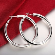 Female Diameter 5CM Smooth Round Creole 5mm Hollow Circles Hoop Earing 925 Silver Prata Brinco Fashion Jewelry Accessories