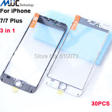 30 PCS Wholesale 3 in 1 Cold Press Screen Outer Glass with Frame&OCA Film Pre-installed for Apple iPhone 7&7Plus Broken Screen Repair