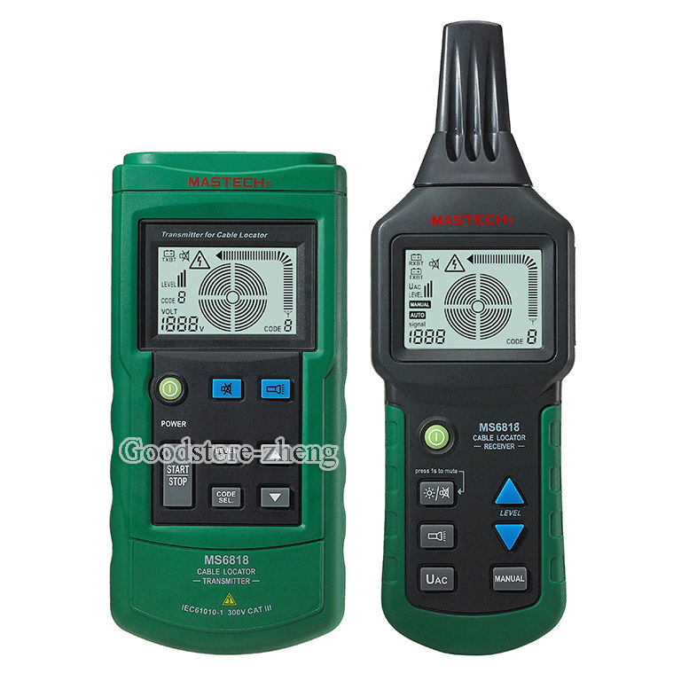 Mastech MS6818 Cable detector Wire Cable Metal Pipe Locator Detector Tester  mastech ms6818 portable instruments professional cable locator wire tracker pipelines detector tester ac dc voltage 12 400v