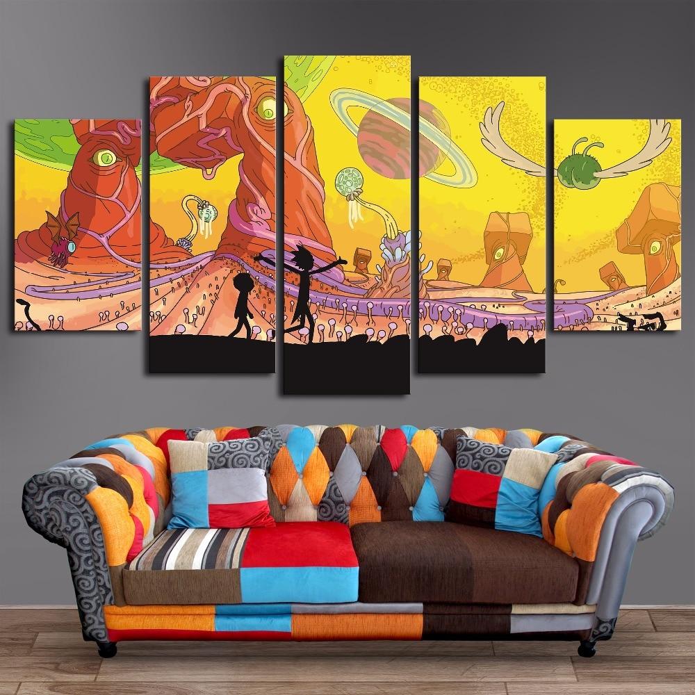 ⑤Enmarcado 5 paneles lienzo pintura Rick y Morty cartel pared arte ...