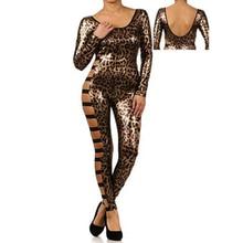 Women Leopard Print Jumpsuit Vinyl Leather 2017 Fashion Sexy Latex Catsuit Ladies Bodysuit hollow out backless jumpsuits