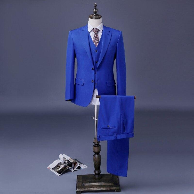 Erkek Kıyafeti'ten T. Elbise'de Kraliyet Mavi Damat Takım Custom Made Kruvaze Smokin 3 Parça Düğün Takımları Erkekler Için Sağdıç Takım Elbise iş elbisesi'da  Grup 1
