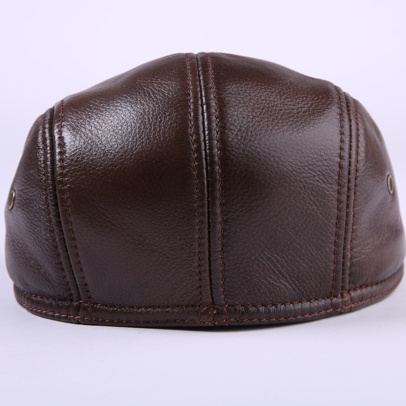 Fibonacci Cowhide Genuine Leather newsboy cap middle aged and old man vintage flat cap ear protection beret hat in Men 39 s Newsboy Caps from Apparel Accessories