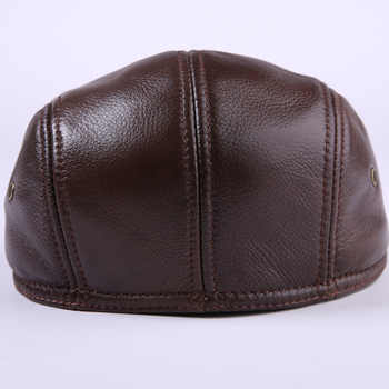Fibonacci Cowhide Genuine Leather newsboy cap middle aged and old man vintage flat cap ear protection beret hat