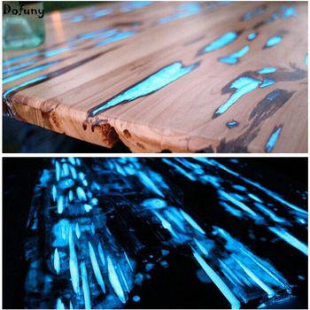 שמיים כחולים Dofuny 100 גרם אבקת זרחן, אבקה זוהרת ציפוי לק, זוהר בצבע הכהה שמיים כחולים אור בלילה