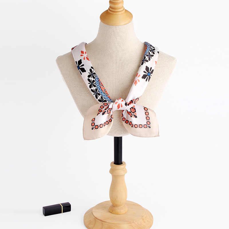 Hijab écharpe femmes mode petite fleur imprimé Foulard 2018 nouvelle marque de luxe Satin Foulard grand châle carré écharpes FJ108