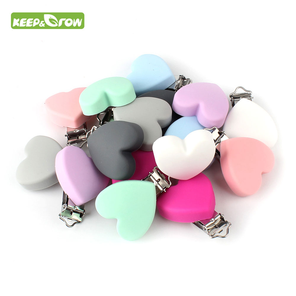 KEEP GROW Heart Shape Silicone Teether Holder Pacifier Chain Clip For DIY Necklace Nursing Pendant Clips DIY Making Accessories in Baby Teethers from Mother Kids