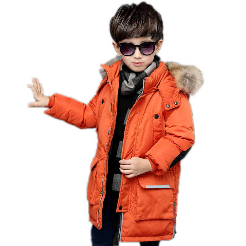 2018 boys winter jacket thick hooded parkas medium long boys down jacket printed patchwork big fur collar winter boy outerwear a15 girls down jacket 2017 new cold winter thick fur hooded long parkas big girl down jakcet coat teens outerwear overcoat 12 14
